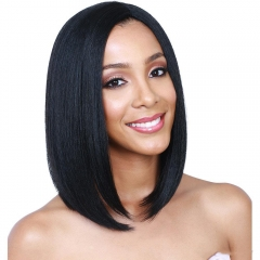 10A Grade Remy Hair 130% Density Natural Color Straight Middle Part Short Bob Lace Front Human Hair Wig with Baby Hair For Black Women