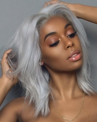 Lace Front wig Grey Color Hair Short Bob Natural Wave Lace Front Wigs [BC294]