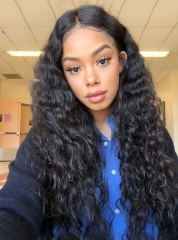 Bleached Knots Deep Curly Virgin Brazilian Hair Lace Front Wig For Black Women[BC182]