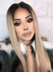 Platinum 613 Color Straight  Human Hair Wigs Lace Front Wigs[BC240]