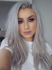 613 Platinum  Color Natural Straight  Human Hair Wigs Lace Front Wigs[242]