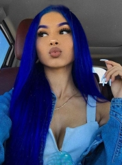 Blue Lace Front Wig Virgin Brazilian Human Hair For Women Lace Front Wig[BC12]