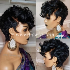 13x4/6 Bouncy Curly Pixie Cut Short Human Hair Bob Wigs 150% Density Glueless Peruvian Remy Lace Front Wigs Pre Plucked For Women